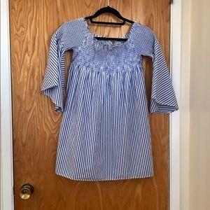 Zara Pinstriped Off the Shoulder Mini Dress